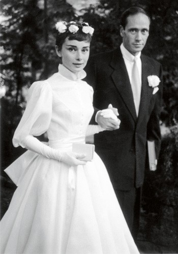 Audrey married actor Mel Ferrer in a simple white dress.